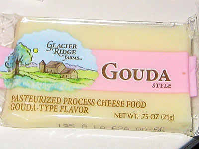 pasteurized process cheese food with Gouda-type flavor